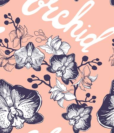 Hand drawn tropical flowers of orchids and colored lettering calligraphy phrase on coral color background. Seamless pattern for textile, wrapping paper, package, poster, banner. Illusztráció