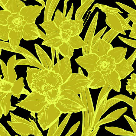 Hand drawn vector botanic seamless pattern with flowers and leaves in realistic sketch style on black background. For create wallpaper, interior fabrics, home textile, clothes. Ilustracja
