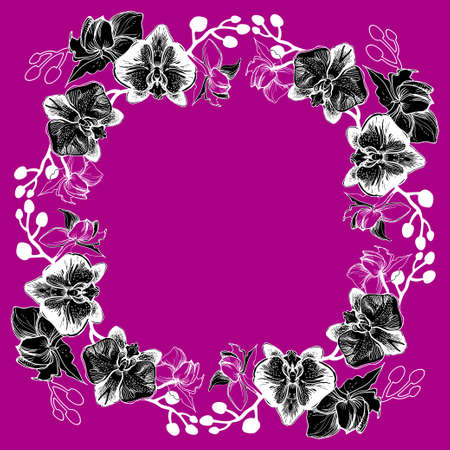 Black and white floral wreath isolated on dark pink with hand drawn flowers orchids. Ink drawing, manual graphic style, beautiful wedding and floristic design element.