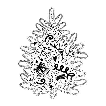 ute Christmas tree. Black contoured silhouette in doodle style isolated on white. Stylized vector element for create New Year design, Greeting card, clip art, gift seamless package. Illustration