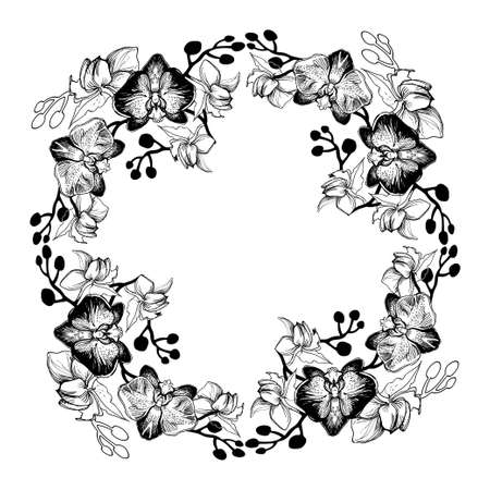 Hand drawn round frame wreath with monochrome tropical Orchids, Phalaenopsis. Floral manual graphic with contours and silhouettes of tropical flowers. Perfect for wedding design, greeting card.