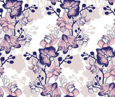 Elegant floral seamless pattern with orchids hand drawn flowers on white. Tropical botanical floristic manual graphic. Perfect for floristic design and printing, wallpaper, posters, textile, fabric.