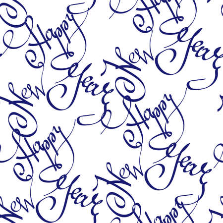 Holiday seamless background with trendy color phantom blue lettering calligraphy phrase Happy New Year on white backdrop. For christmas design, gift package, wrapping paper, textile, print.