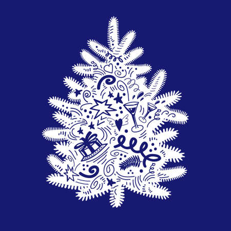 White christmas tree with doodle simbols of New Year on trendy phantom blue backdrop. Cute element for christmas design, greeting card, invitation, poster, gift package, wrapping paper, textile, print Illustration