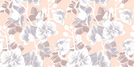 Botanical hand drawn  seamless pattern with gentle tropical flowers of orchids branch in pastel morning halftones