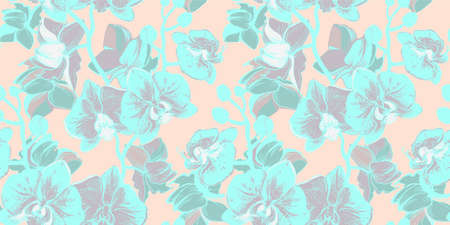 Spring gentle seamless floral pattern with flowers orchid drawn by hand in morning tropical garden on light pink background.