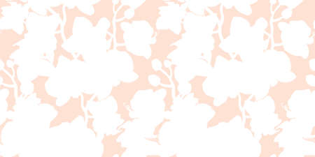 Gentle seamless floral pattern with white silhouettes of tropical flowers on light pink background. Hand drawn manual graphic. For textile, wallpaper, interior fabric, bedding. Illustration