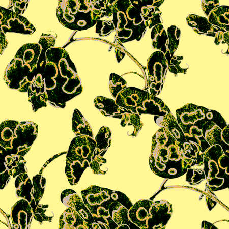 Spotty orchid exotic tropical flower. Floral seamless pattern with black silhouettes of flowers on yellow background. Raster grunge illustration for create contemporari art,package, cover, textile.