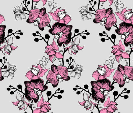 Elegant floral seamless pattern with orchids hand drawn flowers on grey background. Tropical botanical floristic manual graphic. Perfect for floristic design and printing, wallpaper, posters, textile, fabric.
