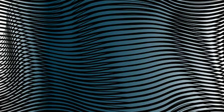 Dark grey blue abstract linear vector background with 3d effect of crumpled curved surface. Creative calm texture for websites, interior design, business cards, banners, posters.
