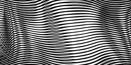 Abstract linear monochrome texture with moire effect of crumpled curved surface optical illusion.. Creative vector background for web sites, interior design, business cards, banners, posters.