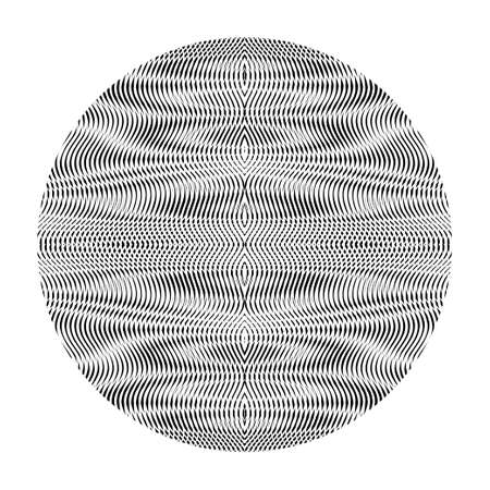 Art element. Monochrome glowing vector circle form with abstract linear wavy drawing with moire effect and ripple effect. Trendy and cool element for design websites, accessories, cover book, card.