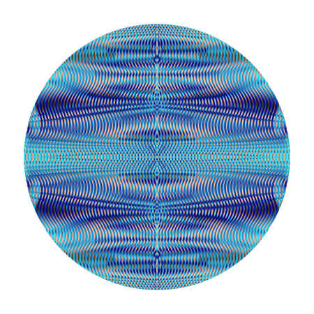 Round background white isolated with symmetrical linear texture with optical illusion in blue halftones. Soft blending wavy moire effect. Vector illustration for creative project Illustration
