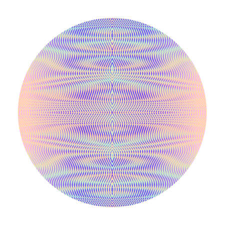 Art element vector circle form with glowing gradient colored abstract linear drawing of wavy lines, moire effect and ripple effect. Trendy and cool element for design websites, accessories for phones. Illustration
