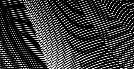 Wavy mesh monochrome texture of straight lines with illusory moire effects on black background. Perfect for abstract backdrop with addition of your text, header. Web pages, mobile apps, business card.