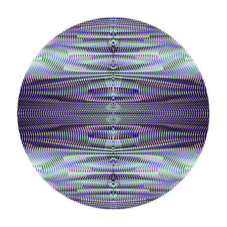 Abstract mystical ornamental circle. Linear texture with effect of moire blending wavy lines. Vector design element for projects, mobile applications, round rug, accessories, interior decor, poster.