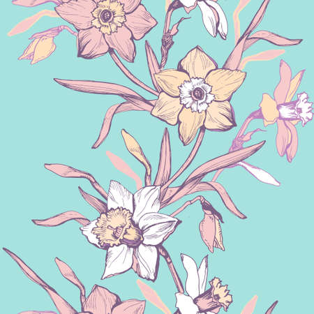 Elegant vector seamless pattern with hand drawn flowers daffodils, narcissus. Spring botanical elements on exotic aqua menthe. Design for textile, fabric, wallpaper, packaging. Illustration