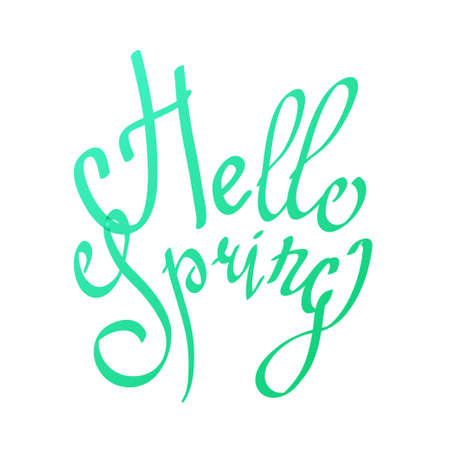 Hello Spring lettering calligraphy phrase in trendy aqua menthe gradient fresh colors. Can be used as element for celebration design, ready greeting card, package, gift, wrapping paper, print.