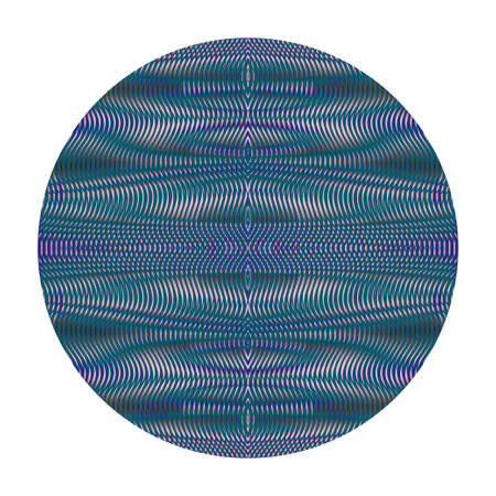 Detailed linear geometric symmetric ornamental round shape in complex blue green colors on white background. Mystical abstract element for creative design mobile applications, websites, accessories Illustration