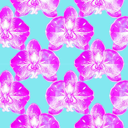 Bright watercolor pink seamless pattern of tropical spotted big colored orchid flowers. Spring fresh drawing for textiles, covers, wallpaper, fabrics, packaging, wrapping paper, cards and invitations. Banque d'images