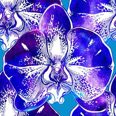 Phantom blue in floral watercolor seamless pattern with close-up orchids flowers. Bright manual watercolor graphic. Big florists elements for design textile.