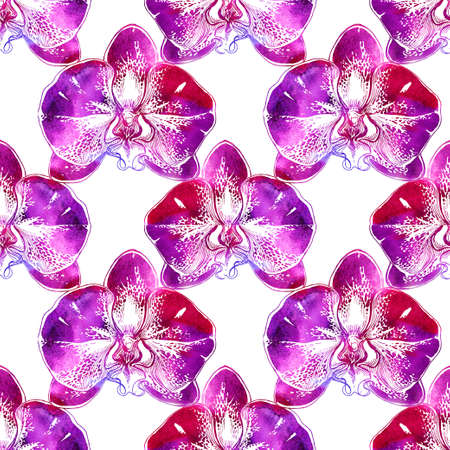 Ornamental floral watercolor seamless pattern with pink hand drawn big orchids flowers on white background. Bright manual watercolor graphic. Close up florist repeated elements for design textile.