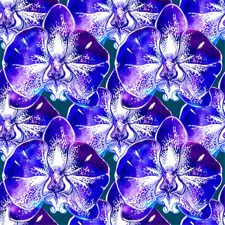 Floral seamless pattern with blossom flowers. Watercolor colorful manual graphic with orchid big flowers. Perfect for design greeting cards, textile, fabrics, wallpaper, poster. Raster Illustration. Banque d'images