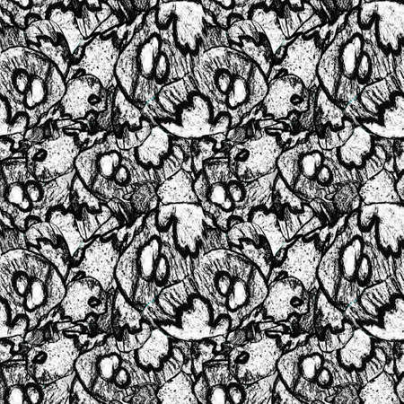 Seamless texture in grunge style. Monochrome abstract background with organic natural textured drawing. Mixed graphic. Raster illustration for rapport textile, for wallpaper, pattern fills, surface. Banque d'images