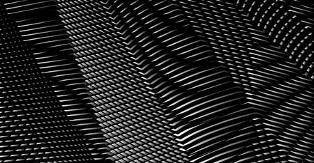 Black and white grid gradient texture of straight lines & illusory rounded moire effects. Ideal for abstract background with addition of your text, header. Web pages, phones and tablet, title, image. Illustration