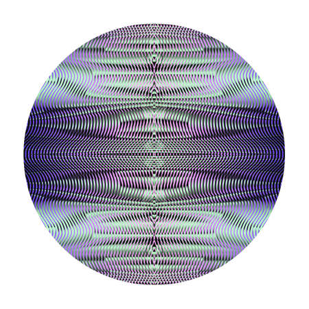 Round shape with texture from wavy ornamental lines of symmetric moire effect. Vector element for design website, business card, mobile and tablet apps, banner, poster. Illustration