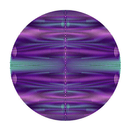 Round psychedelic abstract vector shape with linear ornamental bright violet texture with moire effect isolated on white . Contemporary web design.