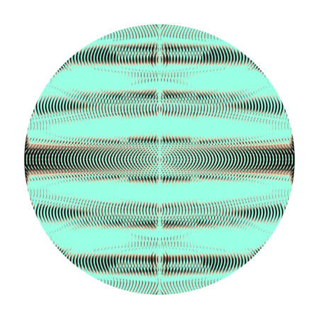 Round shape with wavy meditative linear texture isolated on white. Abstract element in trendy colors for design mobile apps, websites, accessories for phones, carpet. Contemporary illustration. Illustration