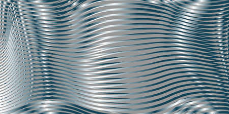 Monochrome abstract linear background with soft gradient optical illusion effect of crumpled curved surface. Creative vector texture for web sites, interior design, business cards, banners, posters
