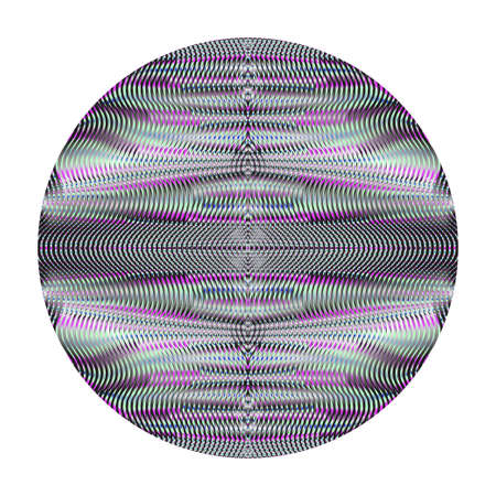 Round form with gray ornamental symmetric texture from wavy lines.. Digital element for design website, business card, mobile and tablet apps, banner, poster.