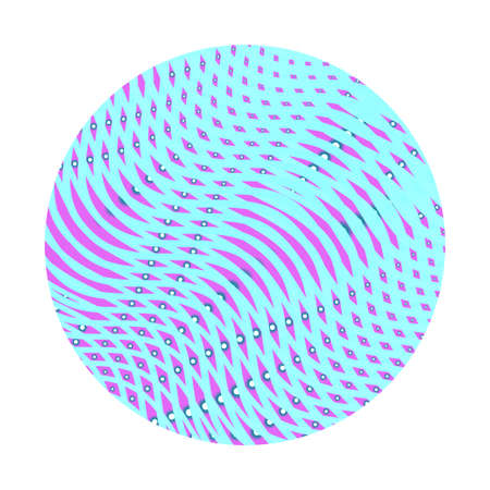 Art vector element. Colored circle with linear mesh textured of wavy stripes isolated on white background. Moire effect round shape.