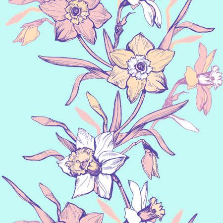 Spring flowers and leaf Daffodil, Narcissus on trendy light aqua menthe background. Elegant botanical floral seamless pattern in pastel halftones. Textile vector rapport stock raster illustration.