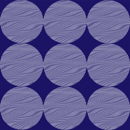 Geometric seamless pattern with repeated stabilize textured circles on trendy phantom blue background. Contemporary design for textile, home decor, printing on tiles, pillow, wallpaper, package.