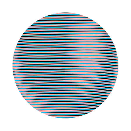 Linear textured background in shape of circle with effect of volume in calm halves of color isolated on white backdrop.