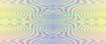 Surrealistic rainbow colored background with symmetric linear moire ornament in soft multi color halftones. Psychedelic abstract pattern from ornamental symmetric wavy lines with moire effect
