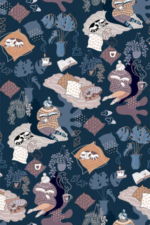 Seamless pattern with relaxed woman at evening home interior with cute sleeping cat, home plants and cup of tea. Cozy reading with candle in hygge mood. Cartoon flat doodle style drawn by hand. Vector Illustratie