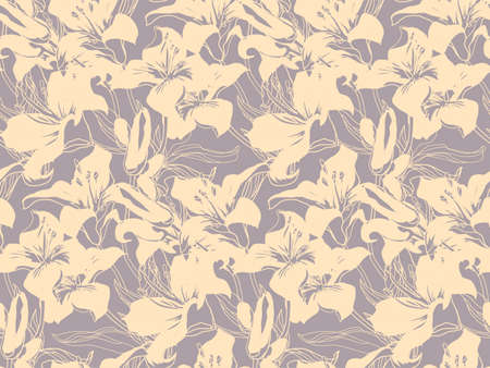 Calm colored silhouettes of flowers, buds and leaves of lily flowers. Seamless pattern drawn by hand in freehand style with solid fill background. Home textile, wallpaper, fabric, package.