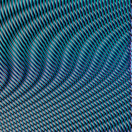 Psychedelic vector geometric background with optical illusion of wavy lines and glow effect. Meditative background saver of stripes and rounded shapes in blue green colors. Color therapy, web page.
