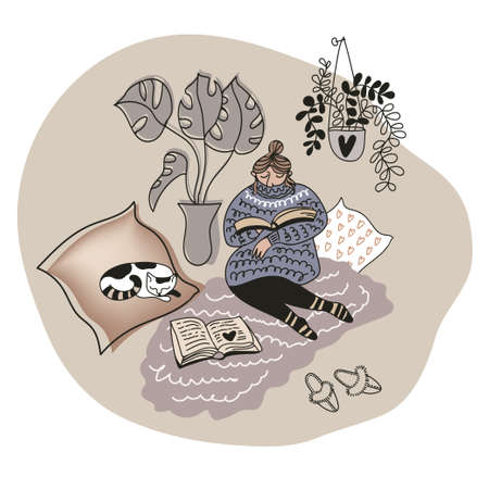 Positive relaxed woman at cozy home interior with cute sleeping cat, home plants, socks, slippers, pillows, rug. Leisure reading with paper book in hygge mood. Colored flat doodle style drawn by hand.