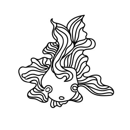 Cute vector small doodle fish with wave fins drawn by hand in black outline. Doodle animal design element.