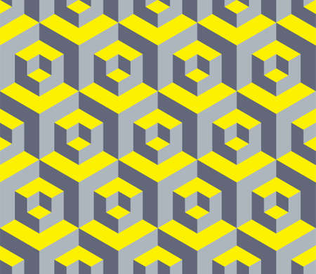 Geometric ornamental seamless pattern in trendy colors 2021with shadow and light effect in Yellow Illuminating and Ultimate gray. Abstract background saver, wallpaper, mobile apps, business card. Ilustração