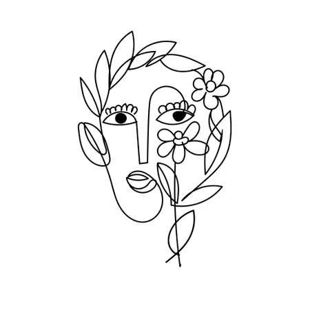 Surreal Face Black Outline Doodle as Symbol Spring Blooming or Women Love to Plants Isolated on White. Abstract Cute Female Character in Hygge Mood.
