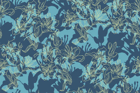 Dynamic seamless pattern with spotted silhouettes of lilies flowers, buds and leaves drawn by hand in freehand style with solid fill background. Home textile, wallpaper, fabric, package.