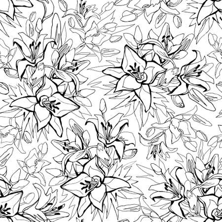 Outline seamless pattern with Lily flowers drawn by hand on white background. Floral sketch of contoured flowers for textile, wallpaper, fabric, packaging, wrapping paper, wadding design, bedding.