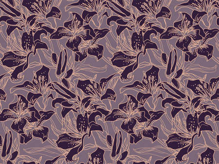 Vector modern seamless pattern with mix of silhouettes and outline of Lily flowers drawn by hand in brown halftones and contours. Home textile, wallpaper, fabric, bedding, package.