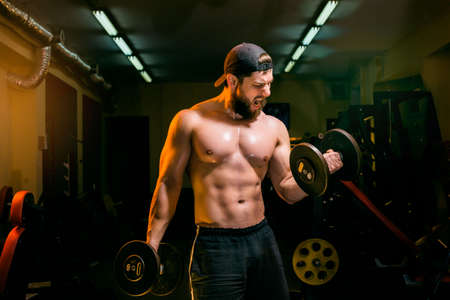 tricep: man in the gym training with dumbbells Stock Photo